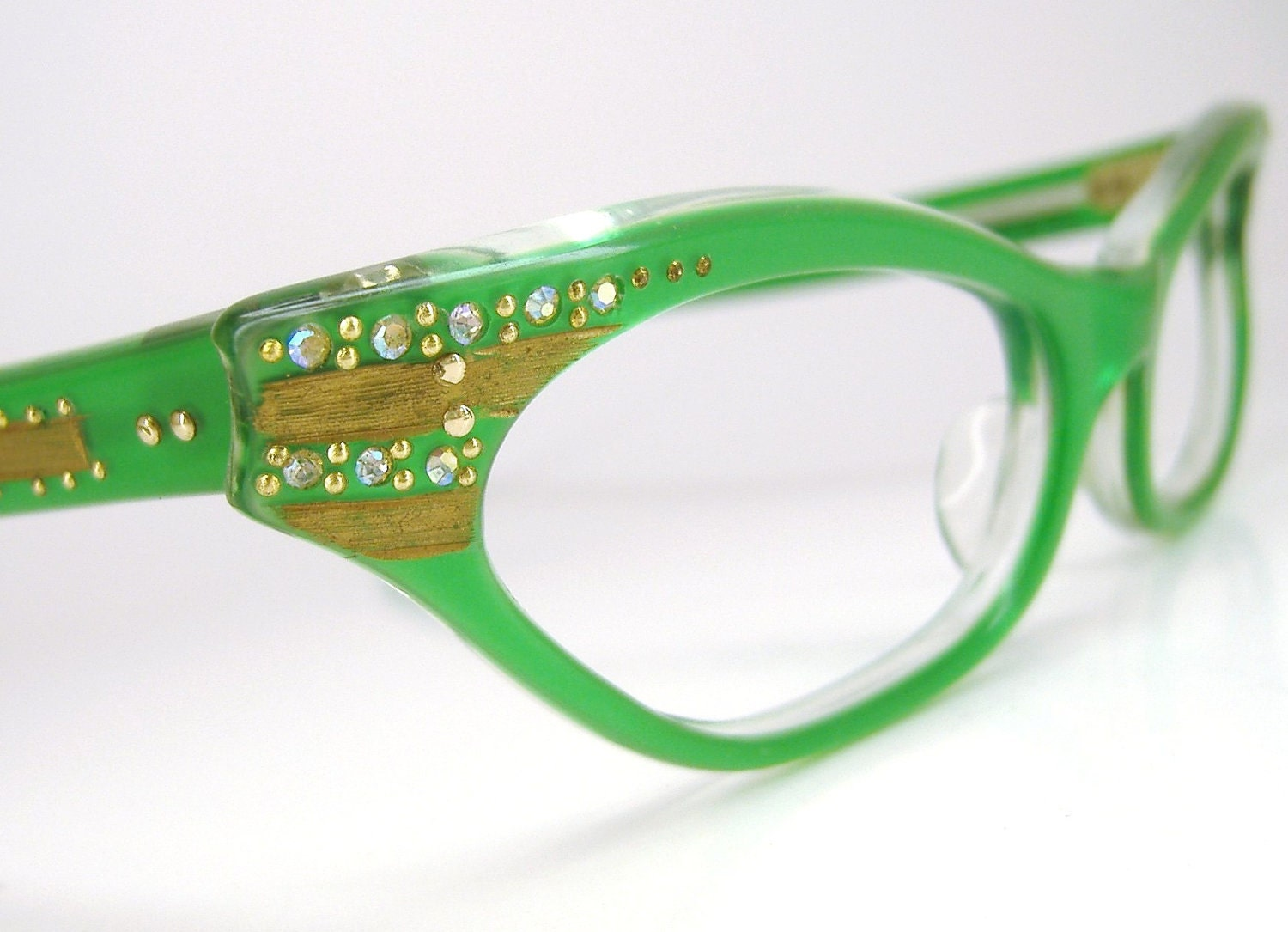 Eyeglass Frames Green : Vintage 50s 60s French Green Eyeglasses Frame