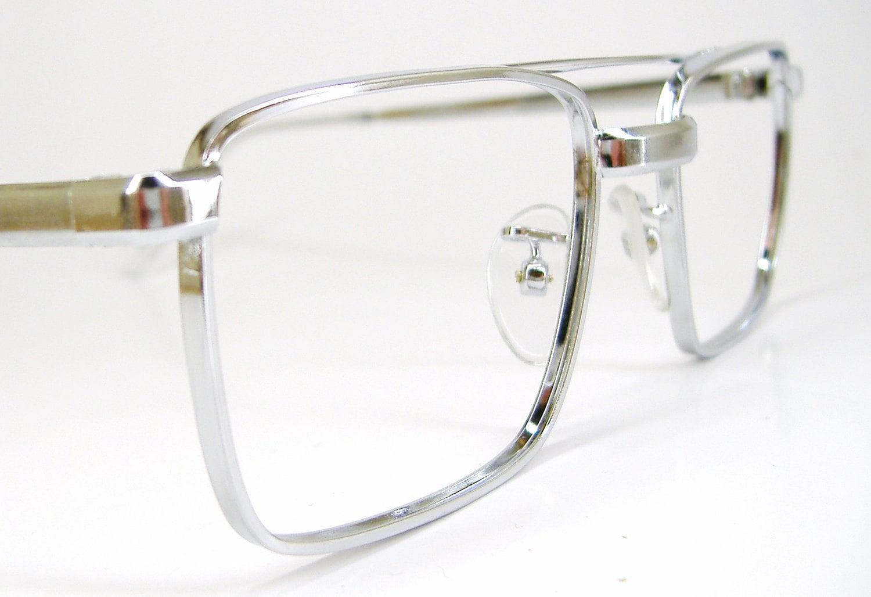 Vintage 70s Mens Pilot Aviator Style Eyeglasses Italian Frame