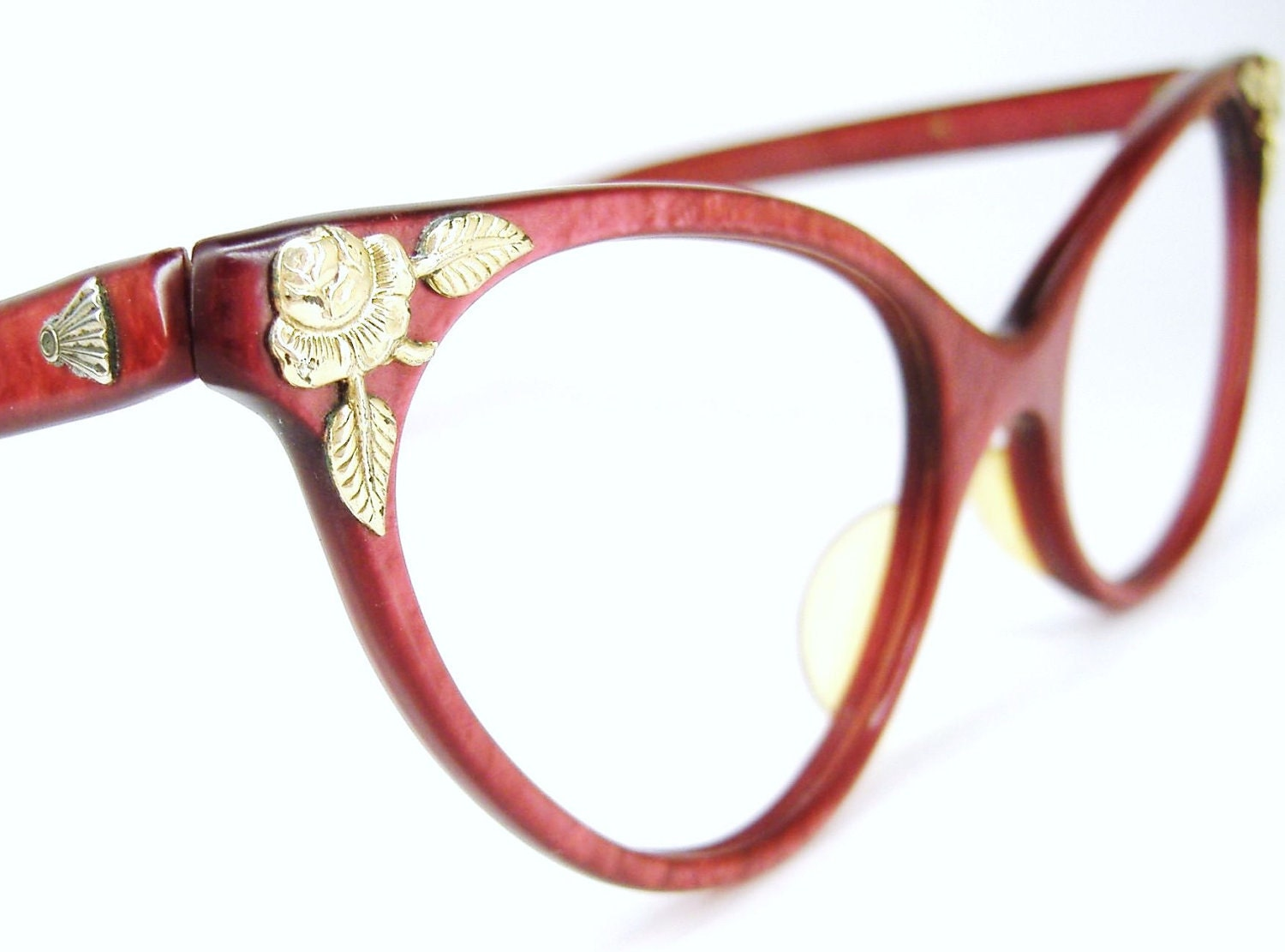 Vintage Red Eyeglasses Sunglasses Cat Eye 1950s 1960s Eyewear