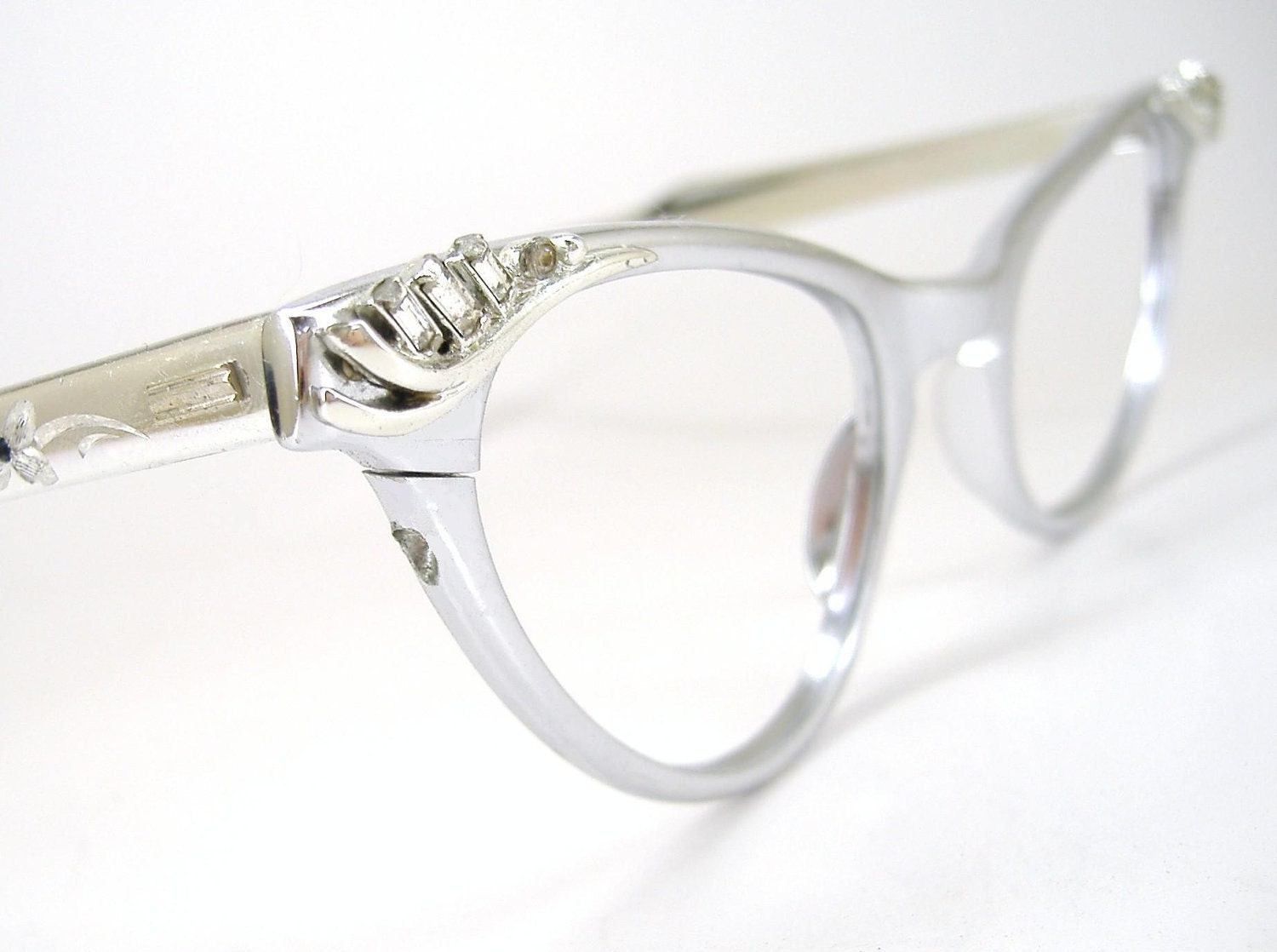 Vintage Rhinestone Cat Eye Glasses Eyeglasses or Sunglasses