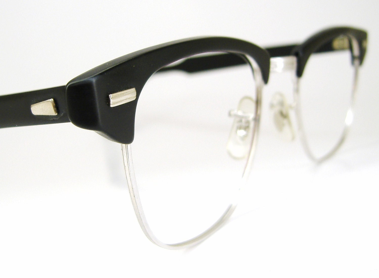 Men s Eyeglass Frames : 1950s Mens Horn Rim Mad Men Eyeglasses Combination Browline