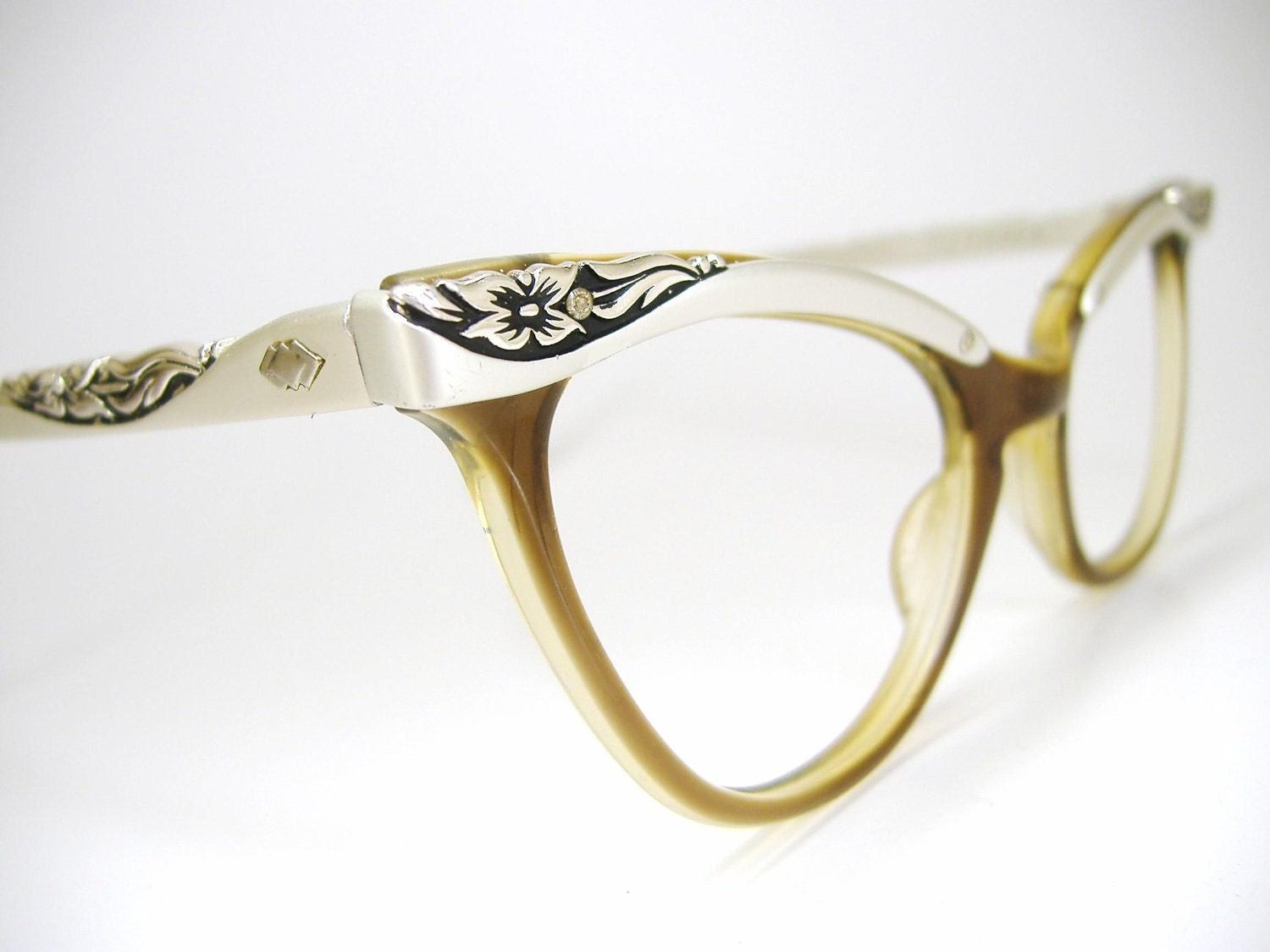 Glasses Frame Discoloration : Vtg Cat eye Eyeglasses Sunglasses Glasses by Vintage50sEyewear