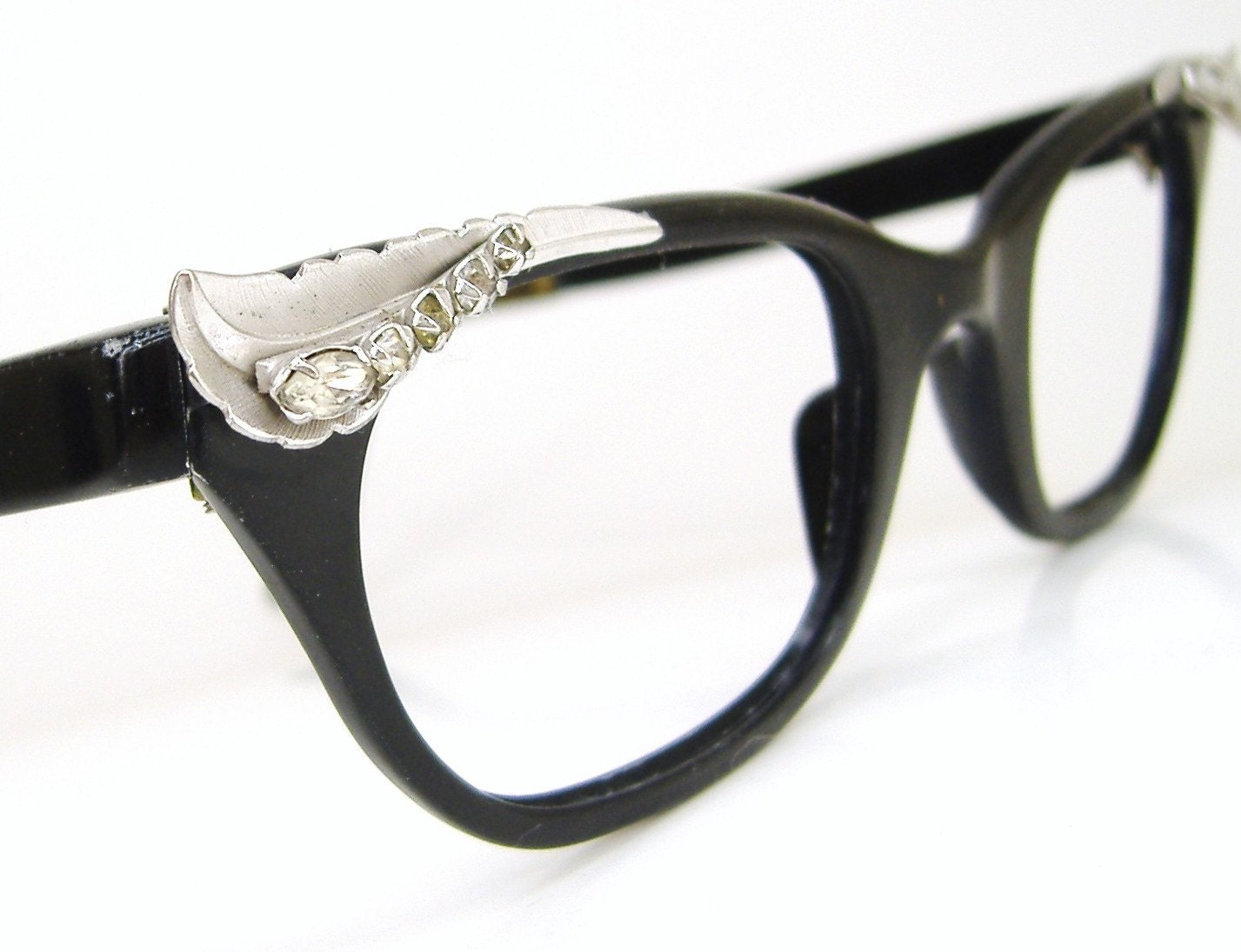 Cat Eyeglass Frames : Vintage Black Cat Eye Eyeglasses Frame with Rhinestones