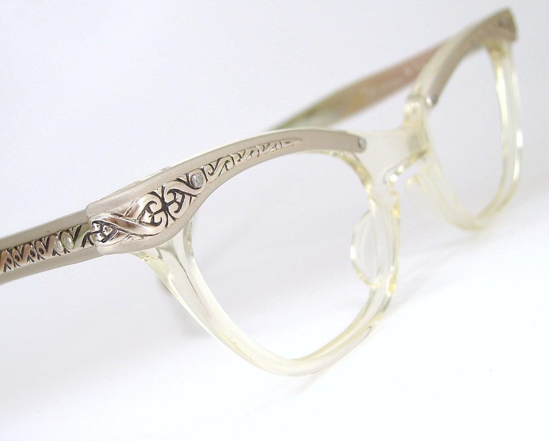 vintage 50s glasses cat eye eyeglasses frame filigree never