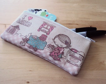 Small I Heart Baking Zipper Pouch