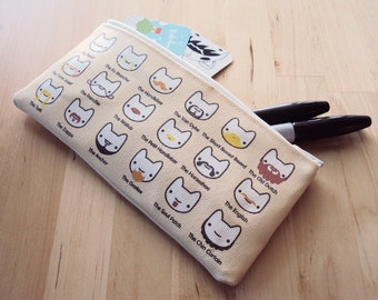 SALE - Kitten's Guide to Facial Hair Small Zipper Pouch