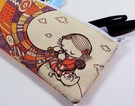 Knitting Girl Zipper Pouch