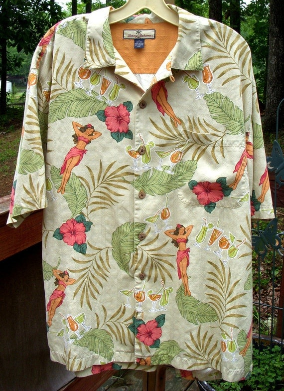 tommy bahama silk hula dancer girl hawaiian shirt size large