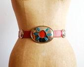 vintage 1970s belt // southwestern red leather and german silver ( medium )