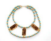 vintage 1970s cadoro necklace // egyptian revival collar statement piece runway couture