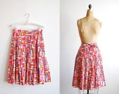 pleated cotton skirt. couture 1970s. print. medium
