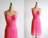vintage vanity fair slip. 1960s lingerie. hot pink lace. medium