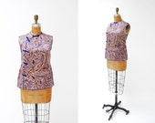 vintage silk chinese blouse. 1950s. ikat print. frog closures. small