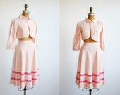 vintage 1940s suit. skirt bolero. pink. 40s suit. xs