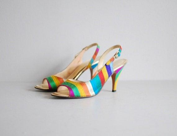50's Raw Silk Rainbow Pin Up Slingback Heels Size 7