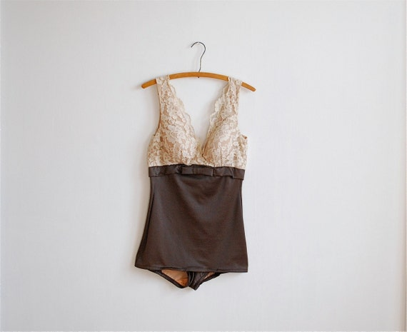 vintage 60's cream lace pin up maillot by Catalina
