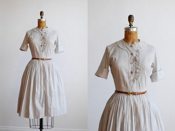 vintage 50's striped cotton ruffle day dress