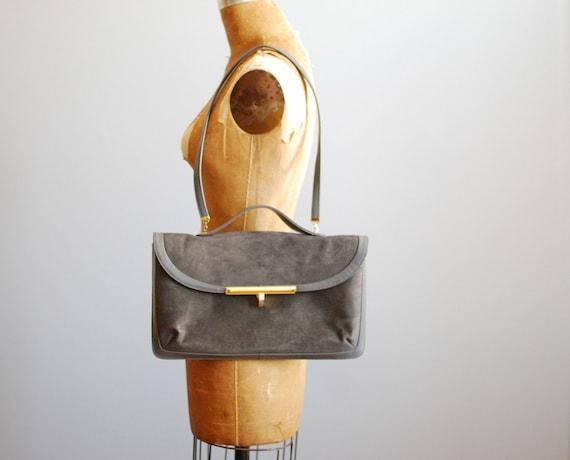 vintage 1970s bag // messenger gray suede attache