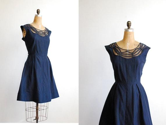 vintage 1950s dress // cocktail illusion neckline navy blue Large XL