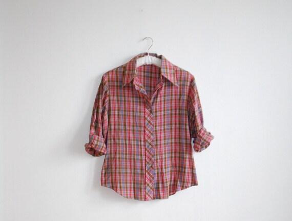 vintage 1970s shirt // plaid soft cotton Medium Large