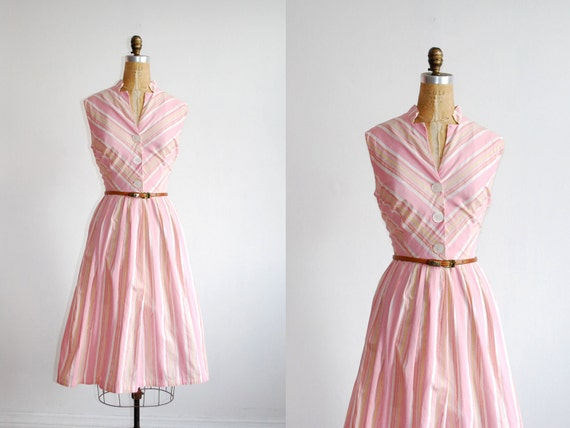 vintage 1950s dress // striped full skirt sundress ( XL )
