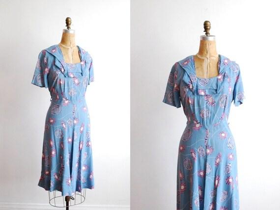 1940s dress. large. 40s dress. rayon dress. large