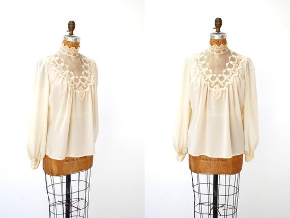 vintage 1970s blouse // victorian gothic cream lace stevie nicks ( medium large )