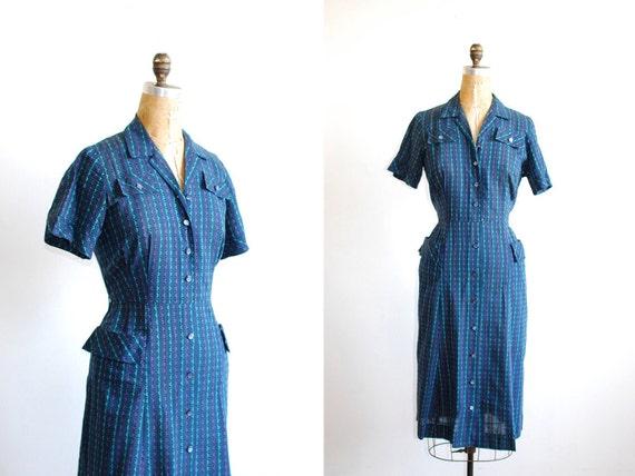 vintage 1950s dress. shirtwaist. 50s dress. large. tribal print