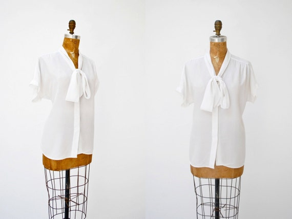 vintage white ascot blouse. silk white top. medium large.