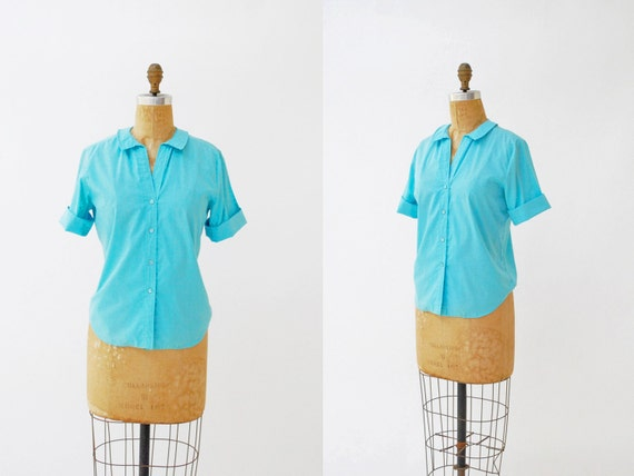 vintage 1950s shirt. peter pan collar. medium blouse