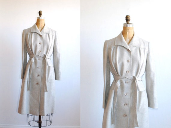 vintage trench coat. wool 1960s. gray belted jacket. medium