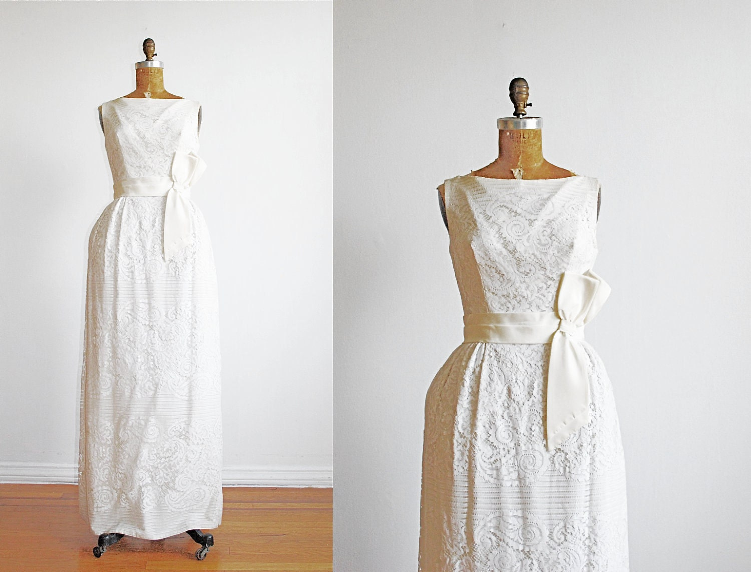 Vintage 1960s Dress Wedding Lace White Maxi By Thegreedyseagull