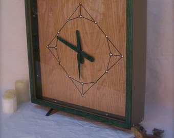 The PS Green and Natural Oak Square Clock