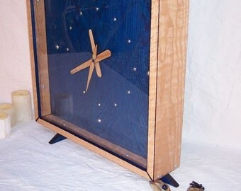 The PS Solid Oak and Blue Square Clock