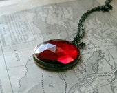 Red Faceted Glass Necklace Jewelry January Birthstone