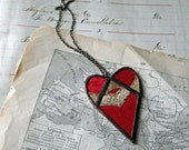 With Love  Vintage Doily Heart Necklace