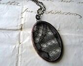 Circles in Black  Vintage Black  Lace Necklace