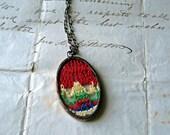 Rainbow  Vintage Hanky Necklace