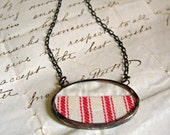 Red Ticking Vintage Quilt Necklace