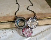 Clear Glass Button Bib Necklace