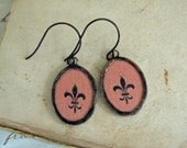 Fleur De Lis Vintage Fabric Earrings