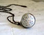 School Playground Speckled Blue Clay Marble Necklace Vintage