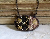 Chocolate Vintage Crazy Quilt Necklace Bib Jewelry