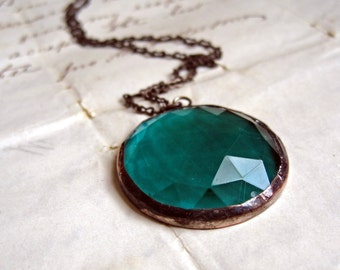 Teal Faceted Glass Necklace