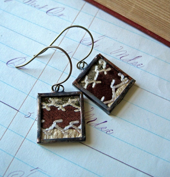 Handmade Memories Vintage Crazy Quilt Earrings