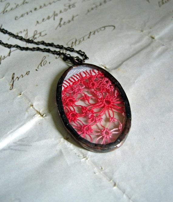 Watermelon Daydream  Vintage Hanky Necklace