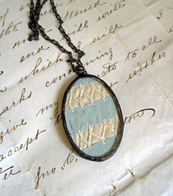 Blue Frost Vintage Trim Necklace