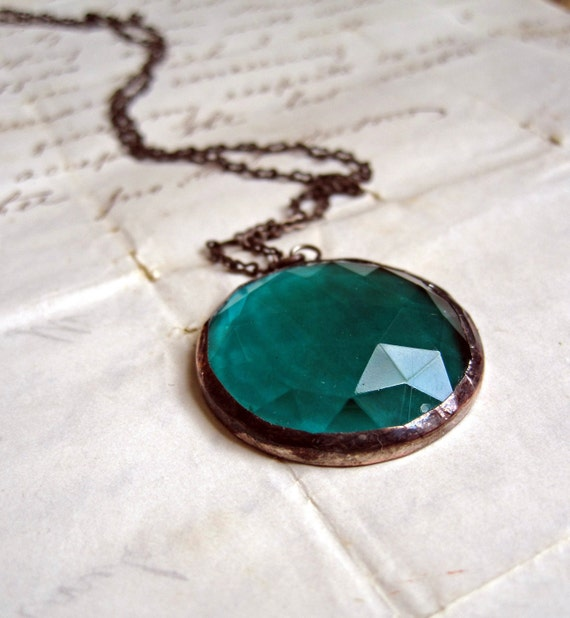 Teal Round Faceted Glass Necklace Jewelry