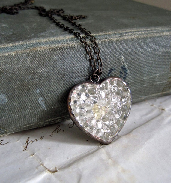 Icy Heart  Glass Button Necklace