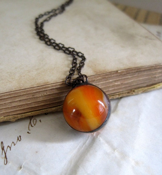 Orangeade Glass Marble Necklace